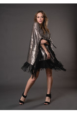 JENNAFER GRACE Sequin Disco Poncho with Fringe
