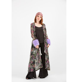 JENNAFER GRACE VIOLET FLORAL FAUX FUR CUFF DUSTER WITH POCKETS