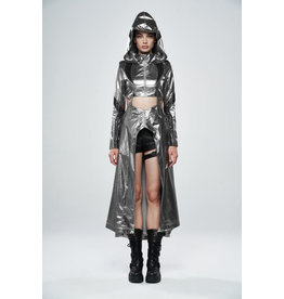 Cosmic Warrior Glossy Hollow Detachable Hem Coat
