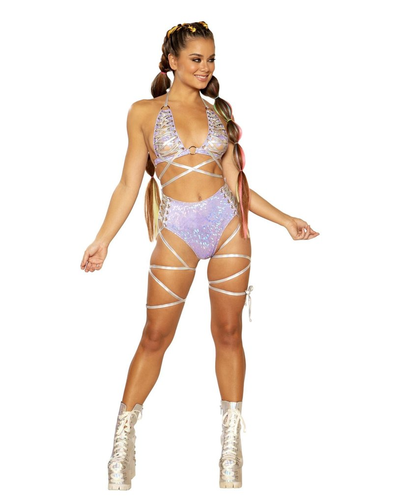Holo Foil Lace-Up Triangle Top