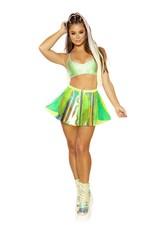 Holographic Vinyl Pinwheel Skirt