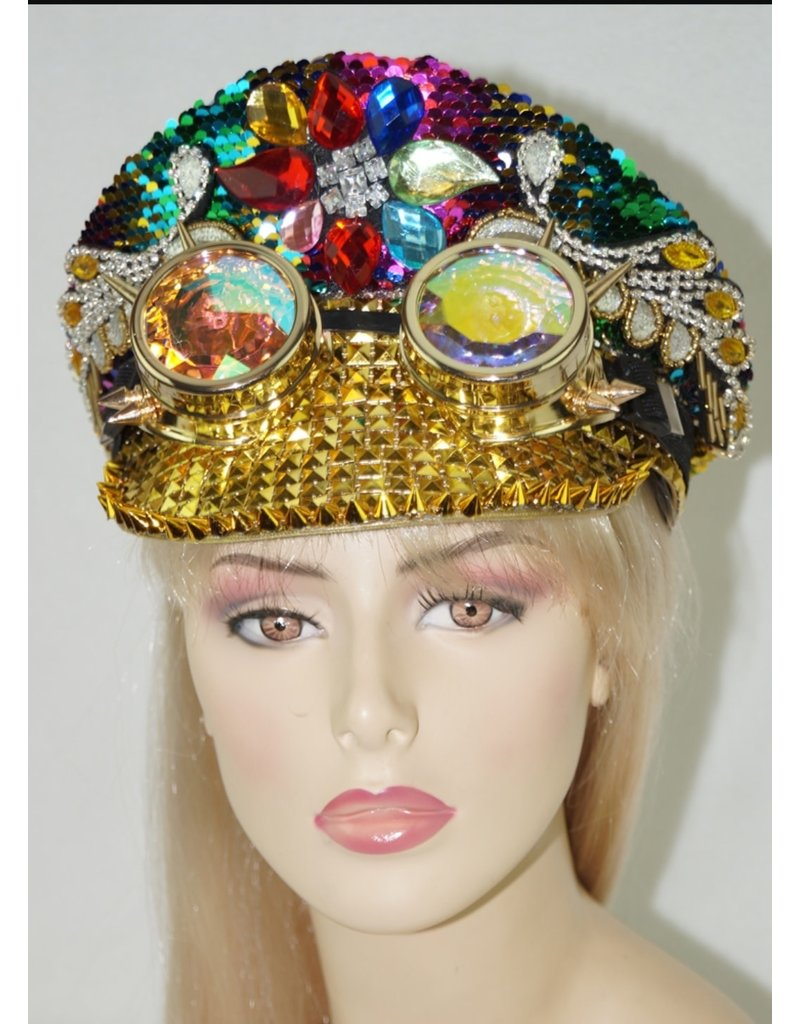 Rainbow Sequin Studded Police Hat with Goggles