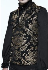 Gothic Black and Gold Embroidered Brocade Collared Waistcoat