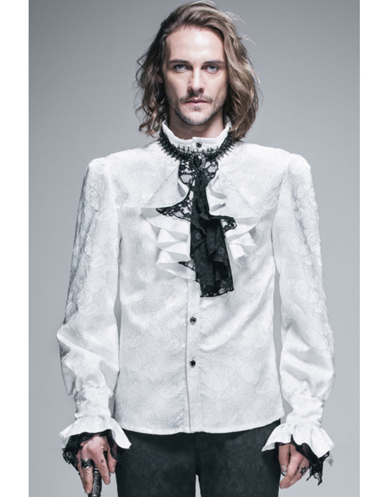 Palace Style Men's Gothic Shirt with Removable Jabot