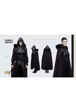 Gothic Black & Silver Brocade Hooded Cloak