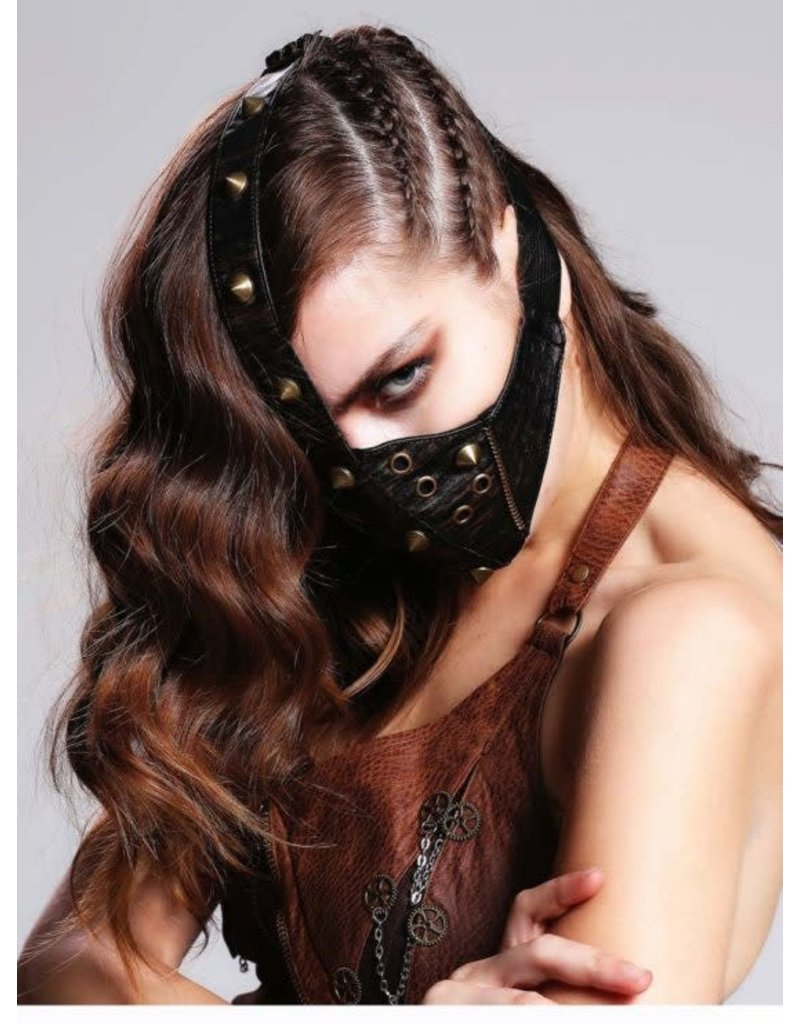 Face Mask w/ Zipper and Spikes Brown