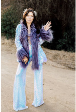 Iridescent Sequin Coat w/ Shag Fur Trim