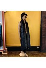 Long Sequin Coat Vest w/ Fur Collar