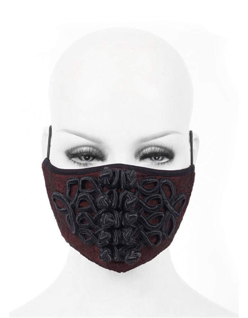 Gothic Face Mask Red w/ Frog Closures and Net Overlay Victorian