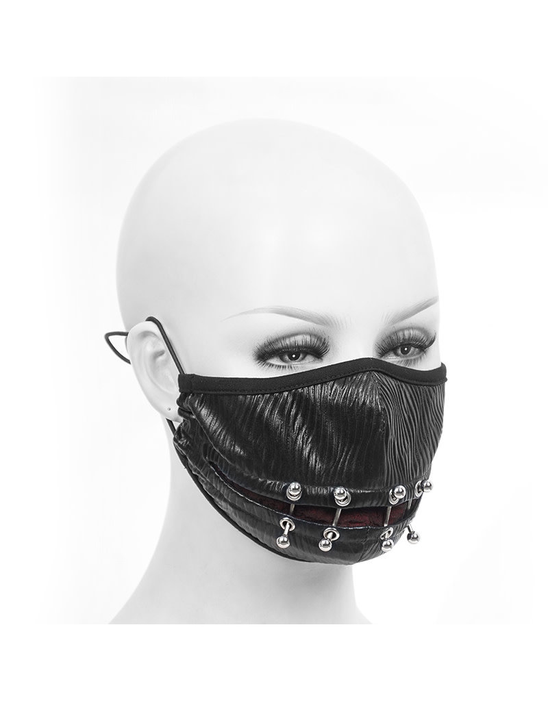Goth Punk Face Mask Mouthguard Black Red Piercing Rings