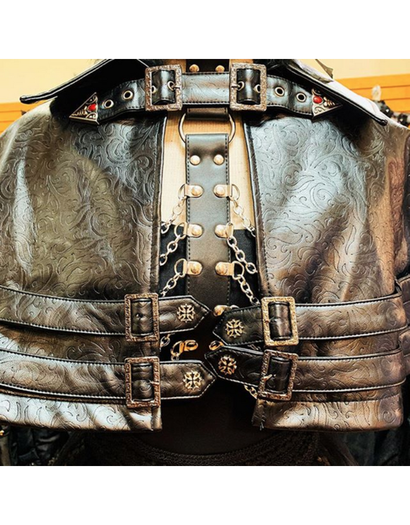 Belted Leatherette Cape