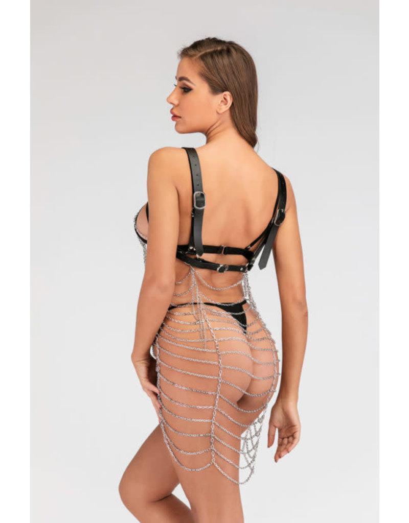 Short Leatherette Chain Dress