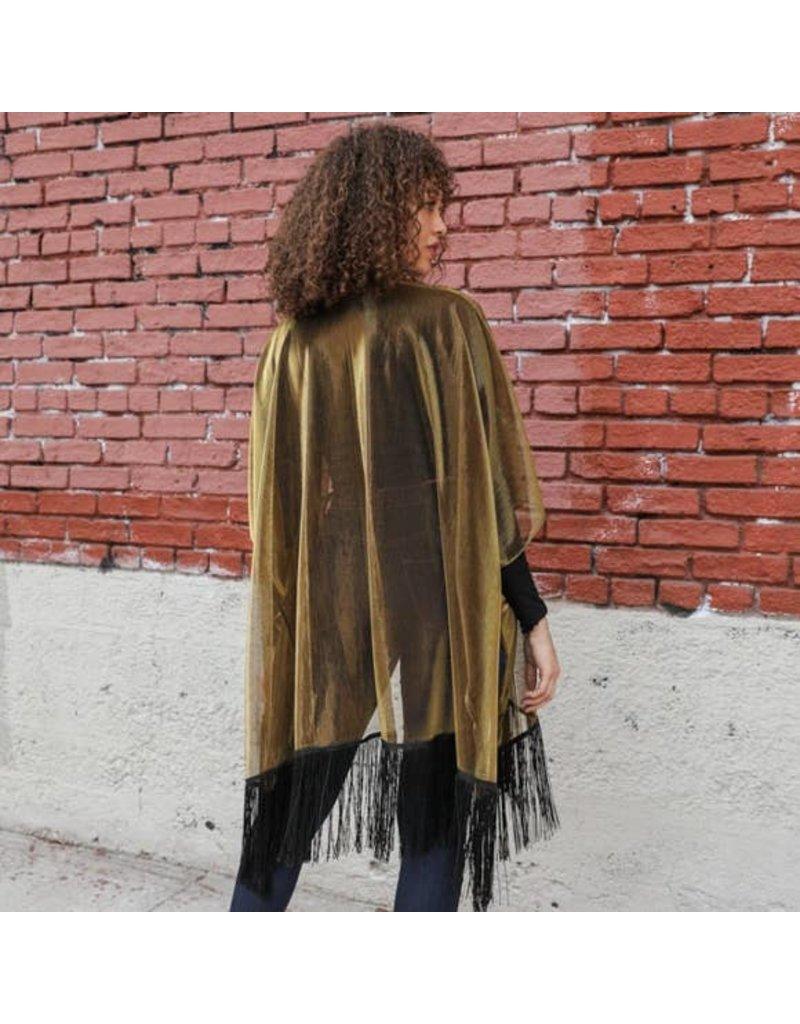 Leto Sheer Metallic Tassel Kimono