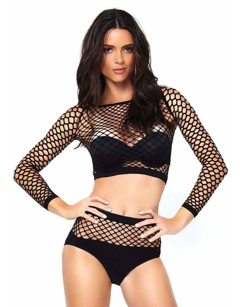 Long-Sleeve Net Top and High Waist Bottom Set