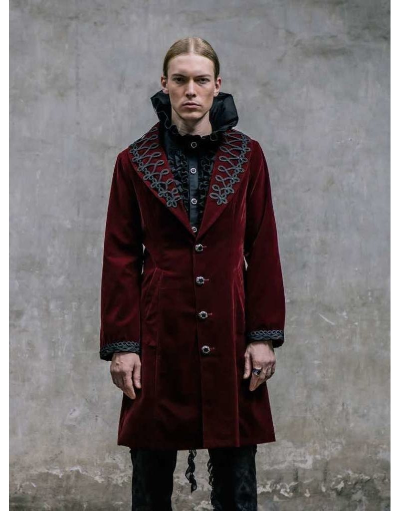 Burgundy Velvet Coat with Embroidery