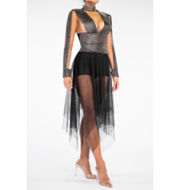 Rhinstone Waistband Sheer Mesh Skirt