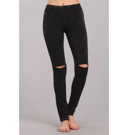 Mineral Wash Leggings with Cut Out Knee