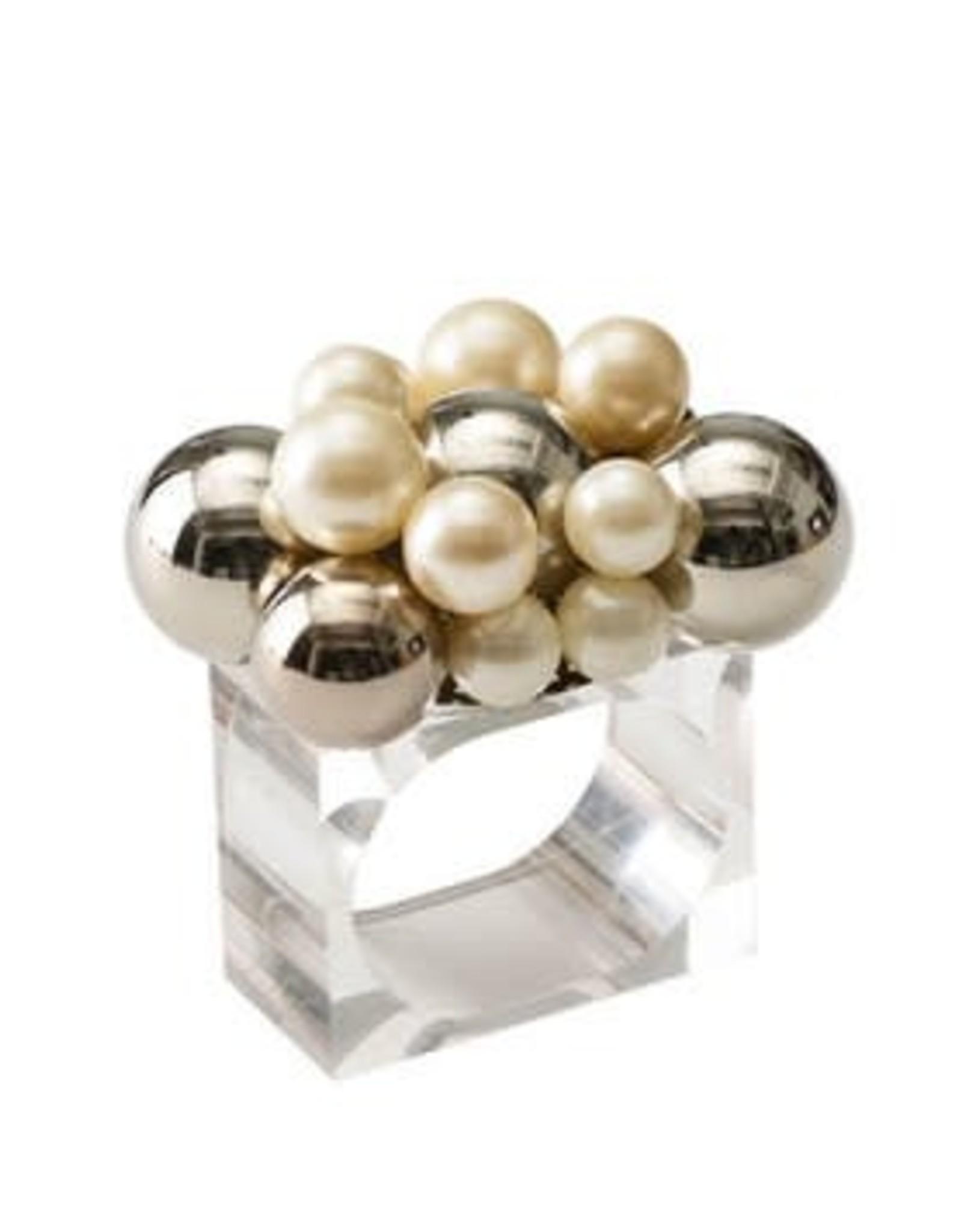 Kim Seybert Bauble Napkin Ring Pearl / Silver
