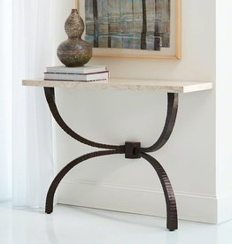Global Views Teton Console in Bronze and Travertine