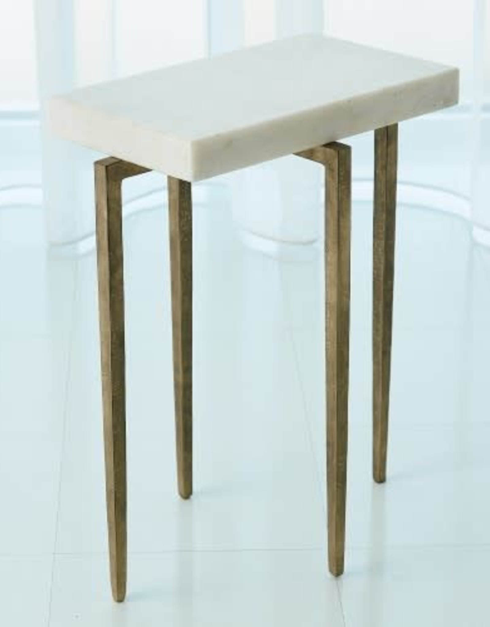 "Global Views Laforge Accent Table - Antique Gold w/ Honed Marble Top 16.25""L X 10.25""W X 20.5""H (33.1 LBS)"