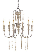 "Currey & Company 6-Arm Chandelier - Hannah,Stockholm White,33""D x 41H - Wood-Iron"