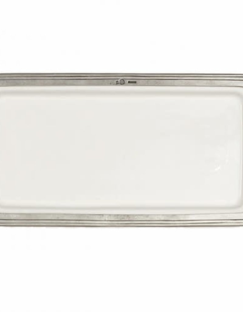 "Arte Italica 12""L Tray - Tuscan Collection, White Ceramic & Pewter"