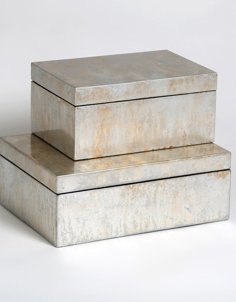 "Studio A Box - Champagne Silver Leaf - Large - 11""L X 8""W X 4""H"