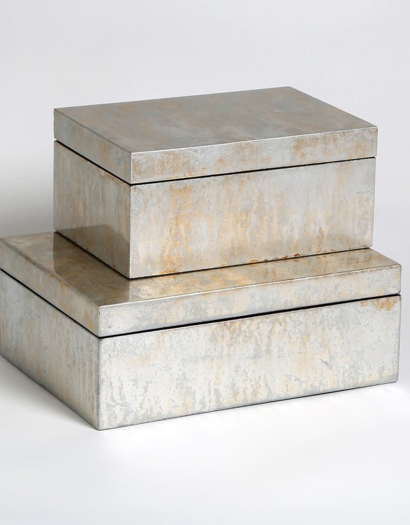 Studio A Box - Champagne Silver Leaf - Small - 9x6x4h