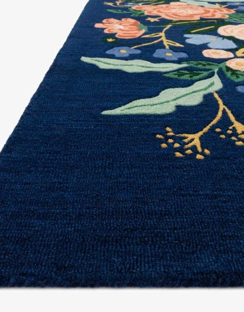 "Rifle Paper Co by Loloi Les Fleur Rifle Paper Co. INDIGO / MULTI FLORAL RUG 3'6""x5'6"""
