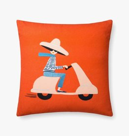 Rifle Paper Co by Loloi RP RED / MULTI SCOOTER GIRL PILLOW