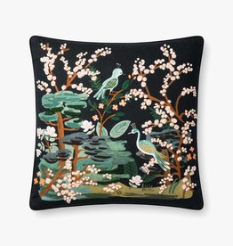 Rifle Paper Co by Loloi RP BLACK / MULTI PEACOCK PILLOW
