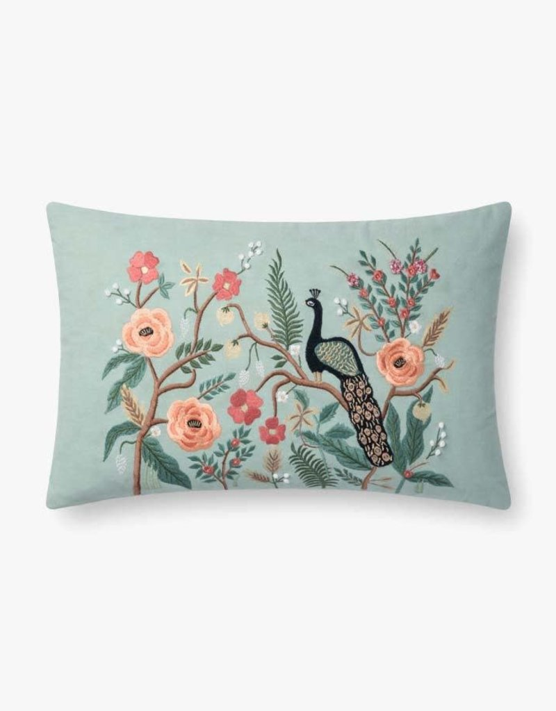 Rifle Paper Co by Loloi Rifle Paper Co. MINT PEACOCK PILLOW