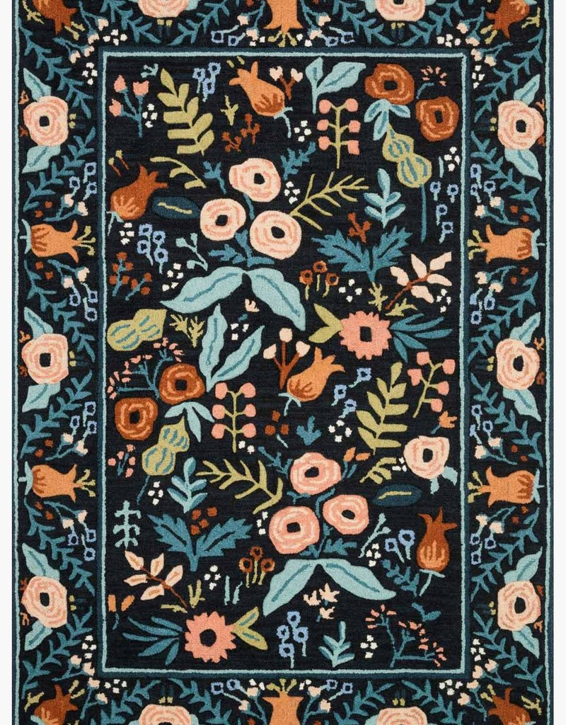 Rifle Paper Co by Loloi Les Fleurs Collection - Lourdes Black Floral Rugs