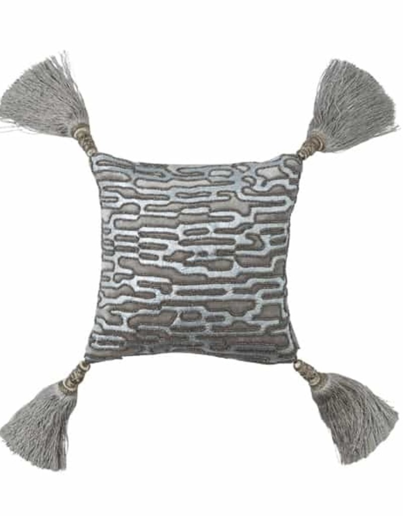 Lili Alessandra Christian 10x10  Pillow - Silver Bead and Print on Platinum Velvet