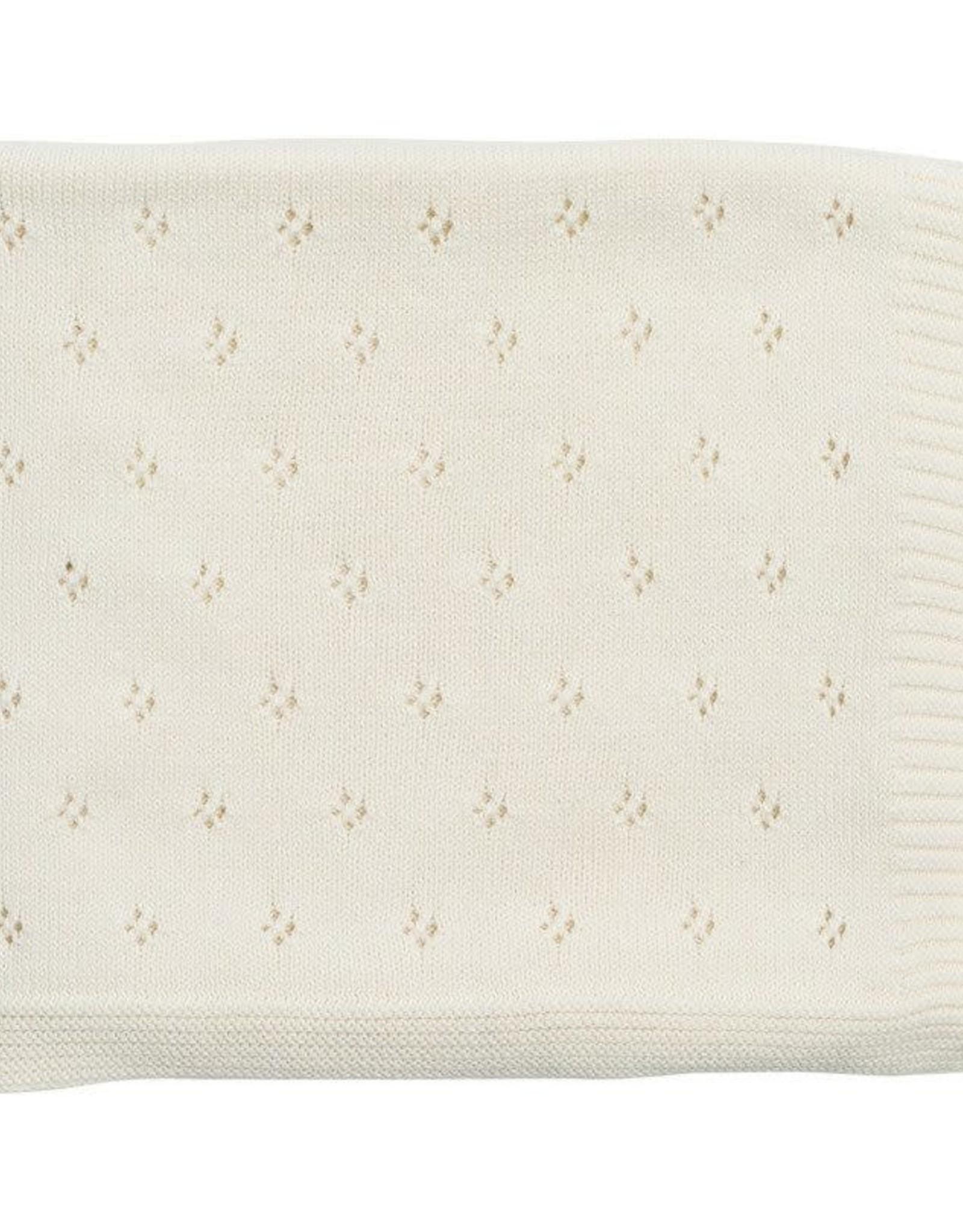 Zestt Clover Knit Baby Blanket White