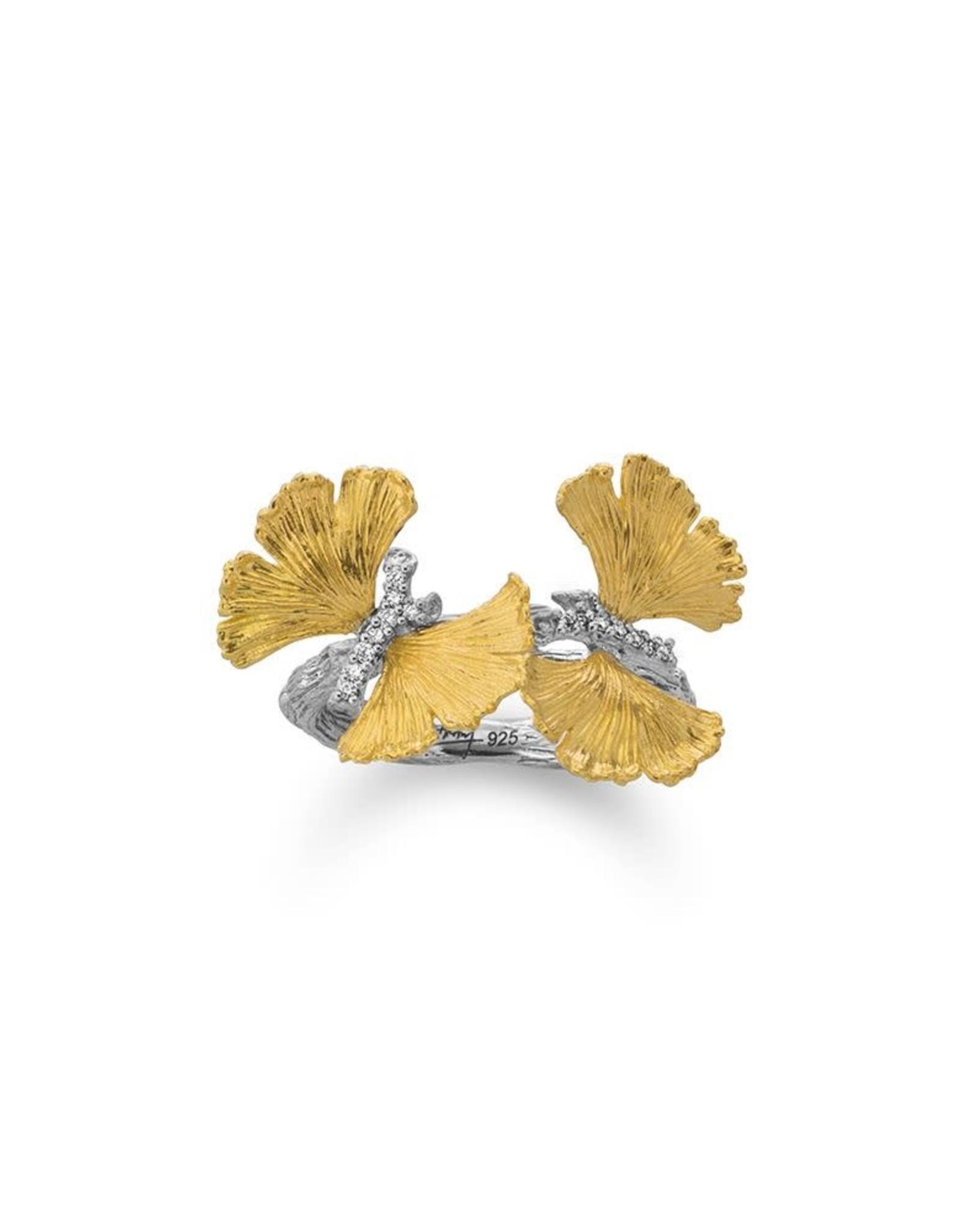 Michael Aram BUTTERFLY GINKGO DOUBLE BUTTERFLY RING W/ DIAMONDS IN STERLING SILVER & 18K YELLOW GOLD