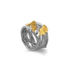 Michael Aram BUTTERFLY GINKGO CUFF RING W/ DIAMONDS IN STERLING SILVER & 18K YELLOW GOLD