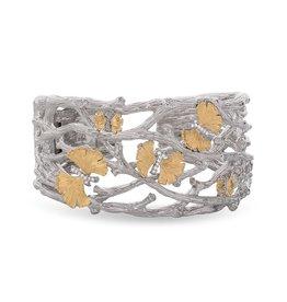 Michael Aram BUTTERFLY GINKGO CUFF BRACELET W/ DIAMONDS IN STERLING SILVER & 18K YELLOW GOLD