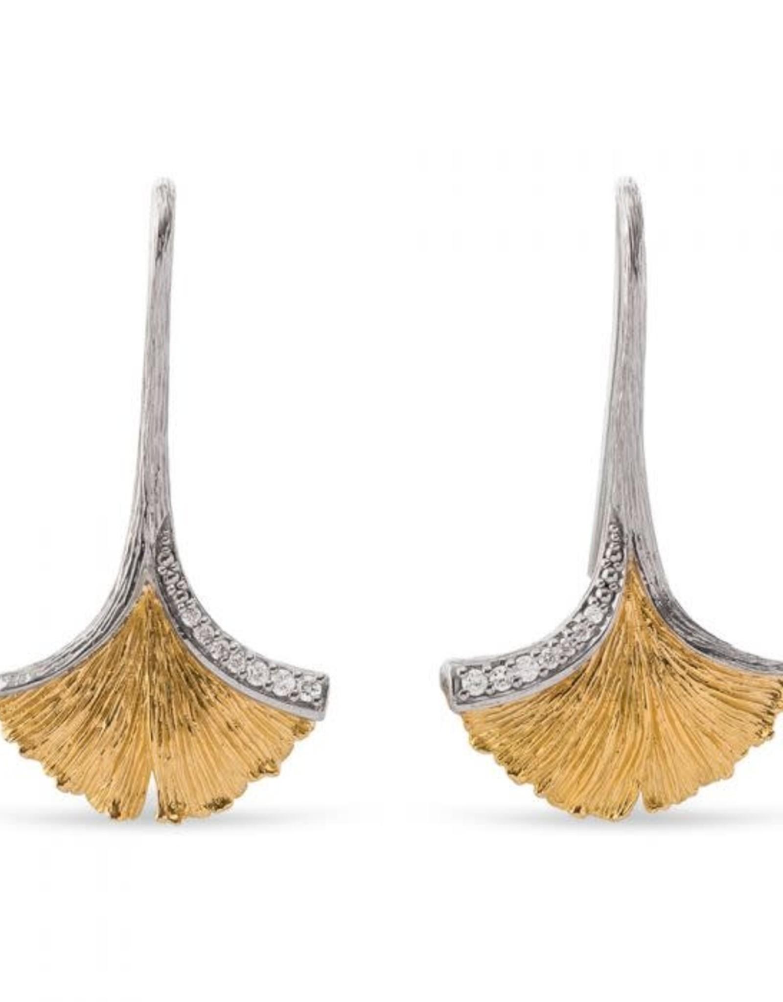 Michael Aram BUTTERFLY GINKGO LEAF DROP EARRINGS W/ DIAMONDS IN STERLING SILVER & 18K YELLOW GOLD
