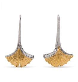 Michael Aram BUTTERFLY GINKGO LEAF DROP EARRINGS W/ DIAMONDS IN STERLING SILVER & 18K YELLOW GOLD