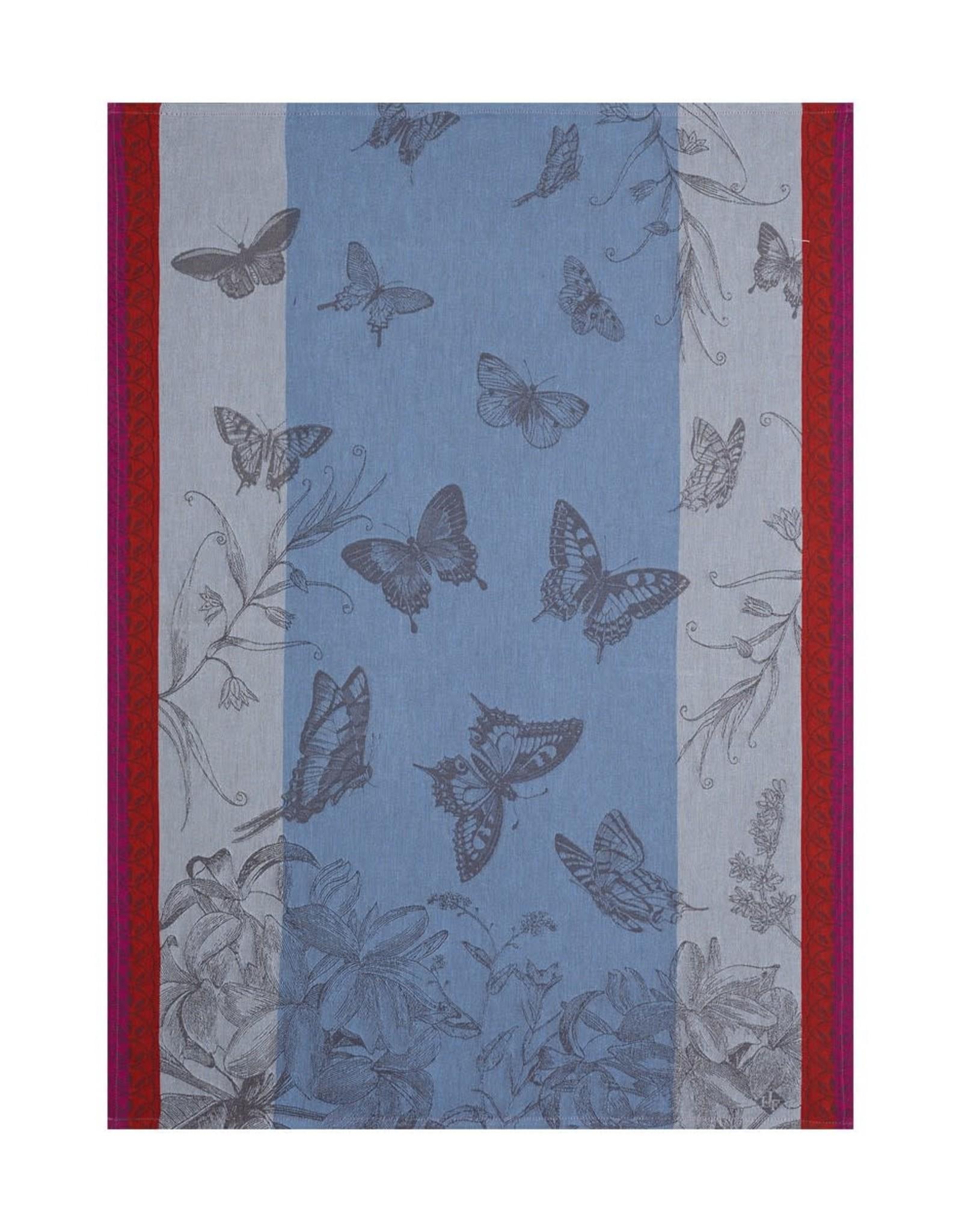 Le Jacquard Francais Jardin des Papillons Blue Tea Towel