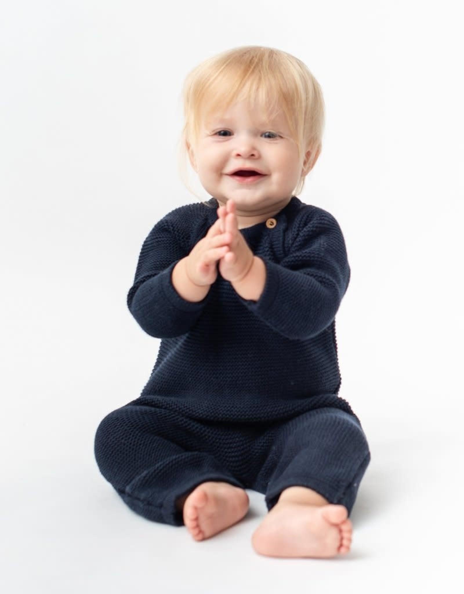 Zestt Organic Cotton Classic Knit Baby Romper Long Navy 0-6mo