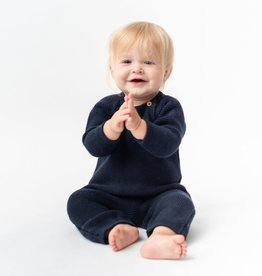 Zestt Organic Cotton Classic Knit Baby Romper Long Navy 0-6mo