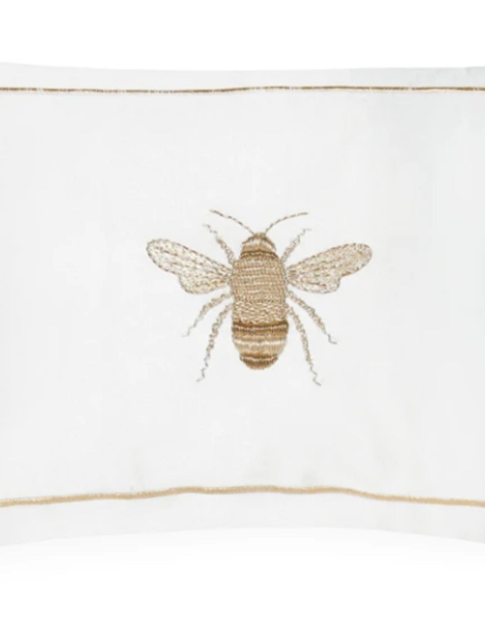Sferra Miele Snow/Gold 12x18 Bee Pillow