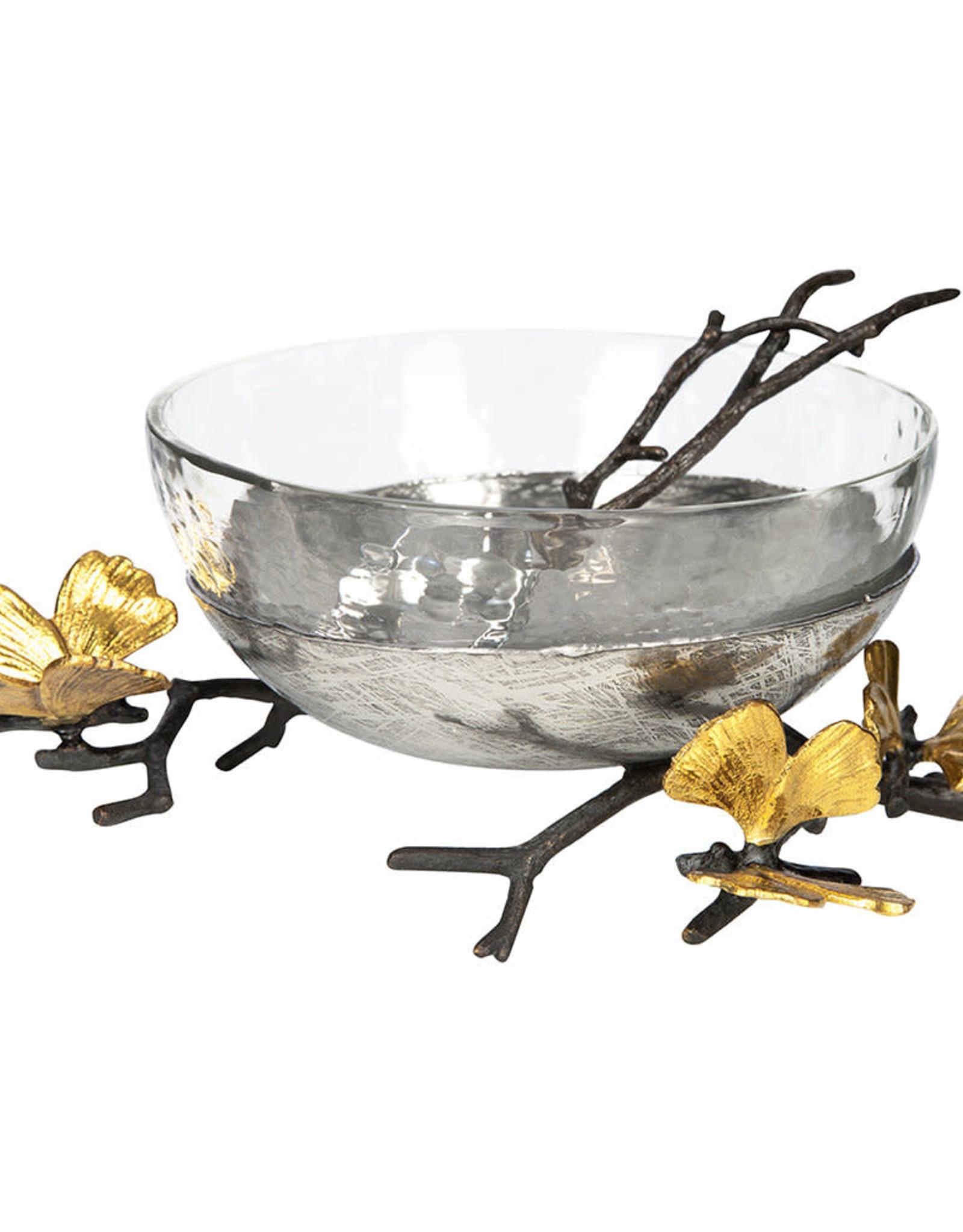Michael Aram Butterfly Ginkgo Glass Nut Bowl with Spoon