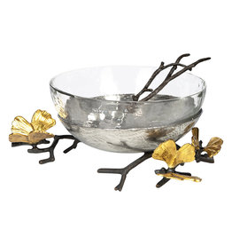 Michael Aram Butterfly Ginkgo Glass Nut Bowl with Spoon