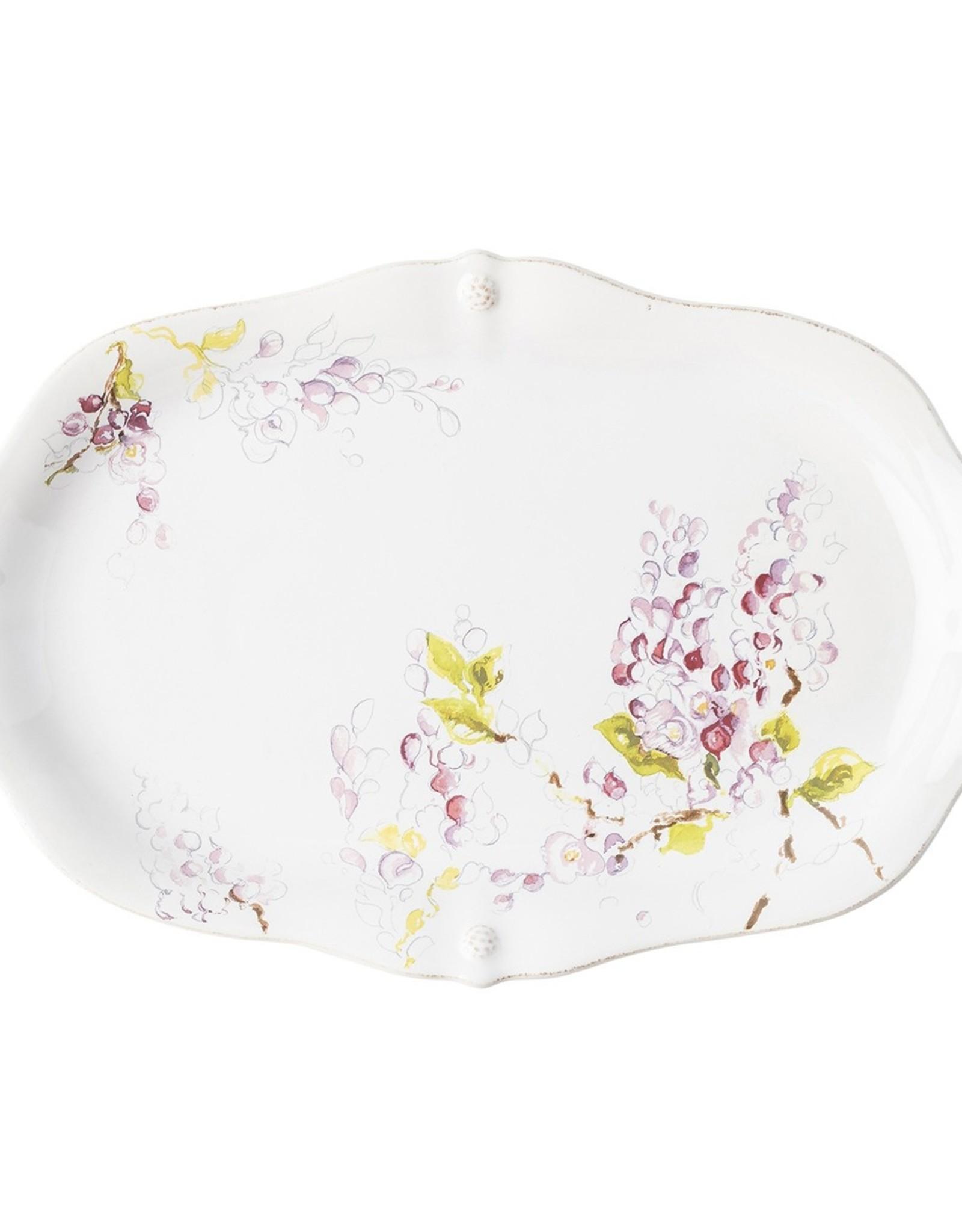 "Juliska B&T Floral Sketch Wisteria Platter 16"""