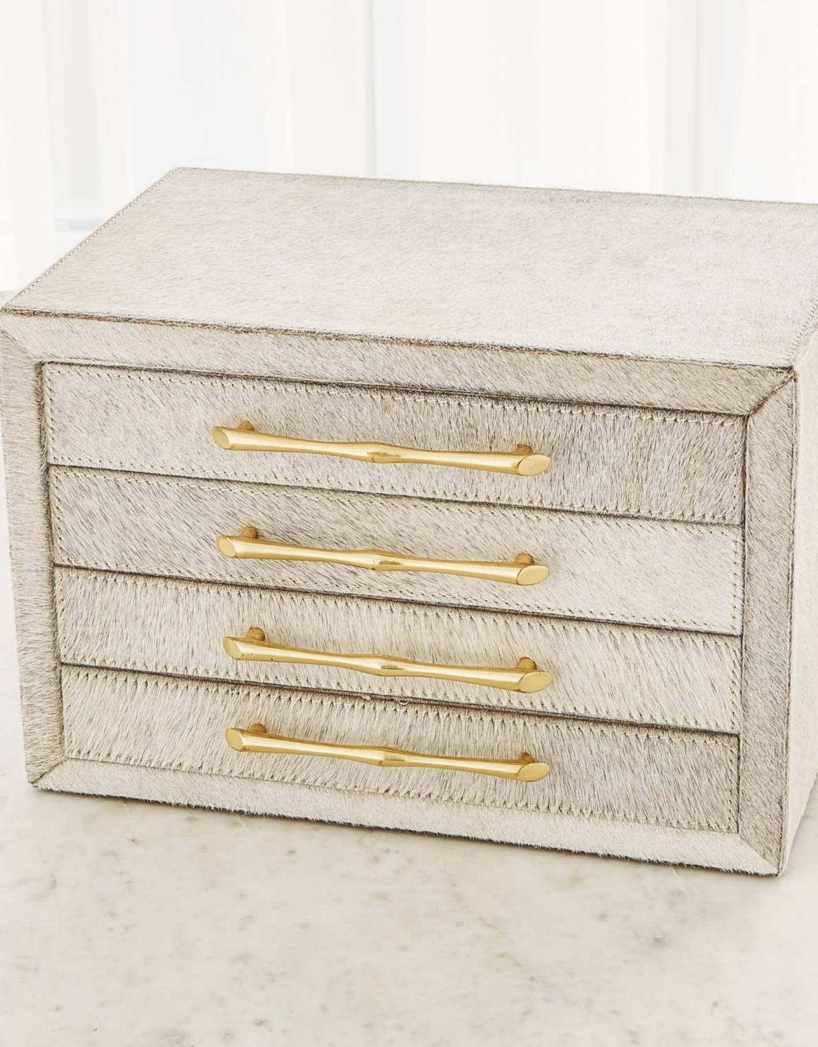 "Global Views Jacqueline Jewelry Box-White Hair-on-Hide - 14""L X 9.75""W X 9.5""H (13.2 LBS)"