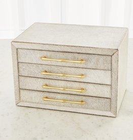 "Global Views Jacqueline Jewelry Box-White Hair-on-Hide - 14""L X 9.75""W X 9.5""H (13.2 LBS)"