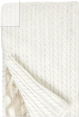 Fabulous Furs Cable Knit and Fur Ivory Throw 60x60